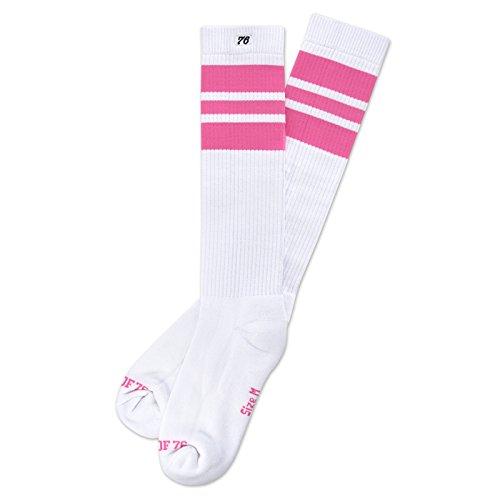 The pink Pinks | Hohe Retro Socken mit Streifen von Spirit of 76 | Weiß, Pink gestreift | stylische Socken für Rollschuhe und Skater | Size S (35-38)