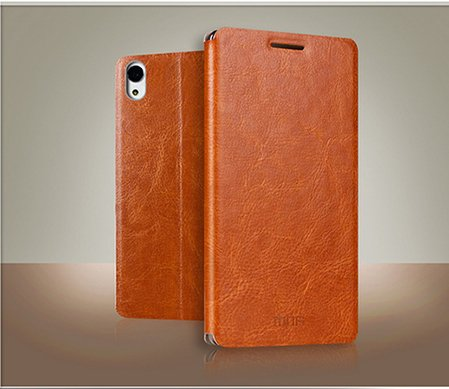 Defender MOFI Vintage British Leather Slim Best Flip Cover Case with Back Stand For Sony Xperia M4 Aqua Dual - BROWN