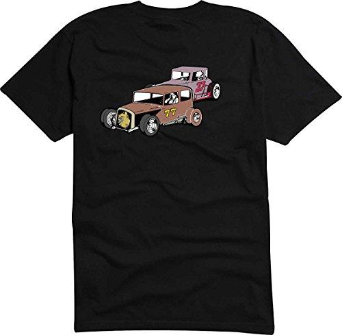 T-Shirt D732 T-Shirt Herren schwarz mit farbigem Brustaufdruck -Design Tribal Comic / Auto Rennen Tunning Oldtimer Weiß