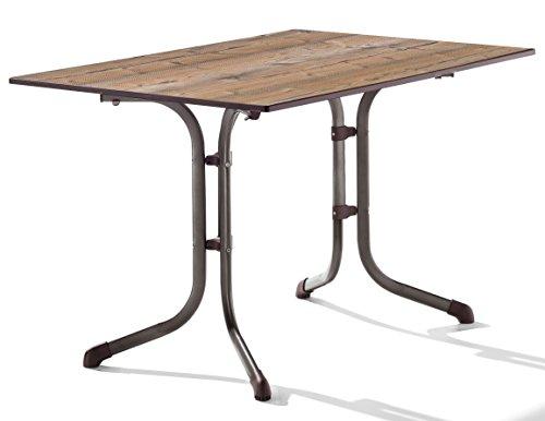 Sieger 1160-75 Boulevard-Tisch mit Puroplan-Platte 120 x 80 cm, Stahlrohrgestell marone, Tischplatte Holzstruktur Fichte