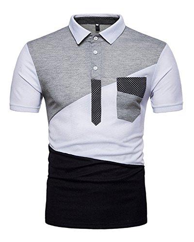 9b75d2d747f JOLIME Mens Polo Shirts Golf Tennis Cotton Short Sleeve Contrast T-Shirt  with Chest Pocket