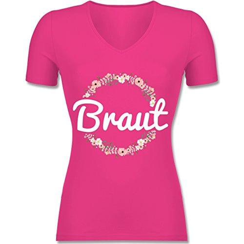 JGA Junggesellinnenabschied - Braut Blumenkranz - Tailliertes T-Shirt mit V-Ausschnitt für Frauen Fuchsia