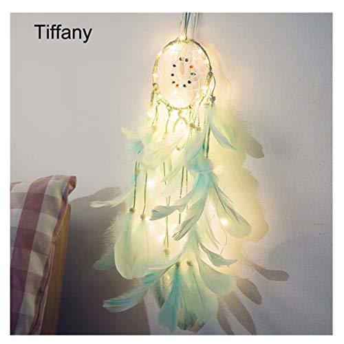 Longzhuo Atrapasueños con Plumas para Colgar en la Pared, Adorno de Lobo atrapasueños, lámpara de Noche LED, Tiffany
