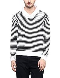 Hypernation Blue And White Stripe Shawl Collar Cotton T-shirt For Men
