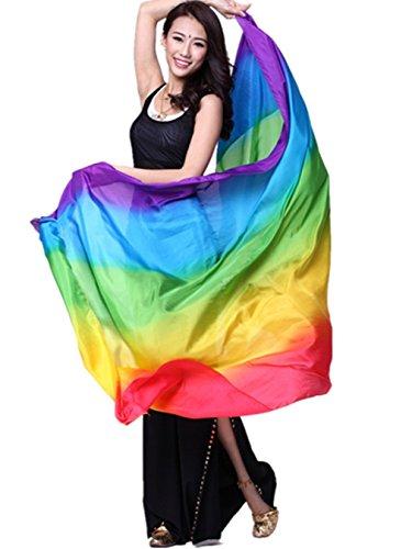 bauchtanzkostüme Schleier Schal Regenbogen Farbe bauchtanz kostüm Accessories 79*43inch