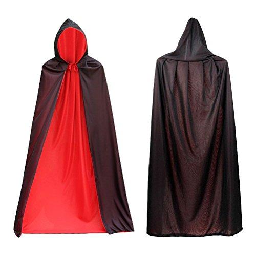 SWEDREAM Halloween Natale Vampiro Dracula Mantello Cape Costume di Halloween Fancy Dress Costume Nero Rosso Reversibile Mantello Con Cappuccio per Bambino e Adulto(140cm Long)