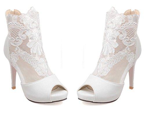 YE , Escarpins peep-toe femme Noir - Blanc