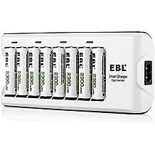 EBL 808A 8 Bay AA AAA Cargador de Batería con 8 Piezas de AA 2300mAh Ni-MH Baterías Recargables