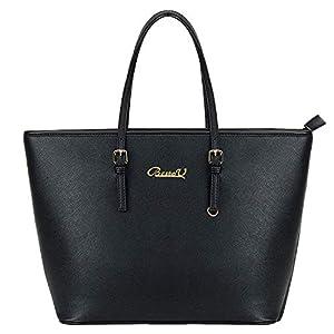 BestoU Damen Handtasche Shopper Schwarz Groß Tasche Leder Moderne Damen Handtaschen Gross Henkeltaschen Frauen Umhängetasche für Notebook MacBook