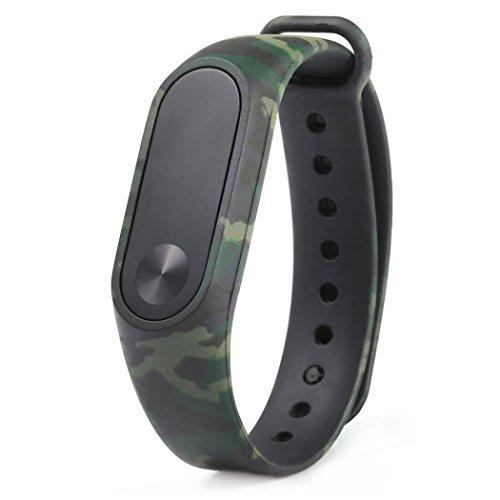 Nuevo patrón de camuflaje pulsera WristBand Pulsera de repuesto Xinan Para Xiaomi MI Band 2 2018 (Verde)