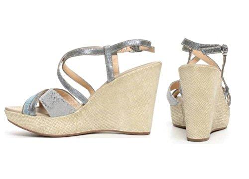 Nero Giardini P717622D Oro, Jeans e Nero Scarpe Donna Sandali Zeppa Plateau Jeans