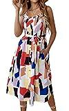 Angashion Damen Sommerkleid Swing Blumenkleid Verstellbarer Spaghettiträger Strandkleid A-line Partykleid mit Gürtel Tasche 012 Weiß S