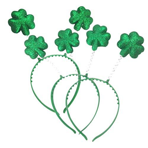 YeahiBaby St. Patrick's Day Stirnband mit Shamrock Bopper Glitter Irischer Tagesstirnband St. Patrick's Day Party Headwear Kostüm Zubehör 3 Stück ()