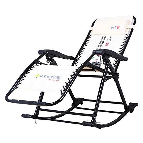 LVLUOYE Fauteuil Relax,Chaise à Bascule, Fold Lounge Chair Shake The Sense of Nature 90-155 ° Retour réglable Adulte Simple Chaise de Jardin extérieur Capacité de Transport: 330lbs (Couleur: A) -B