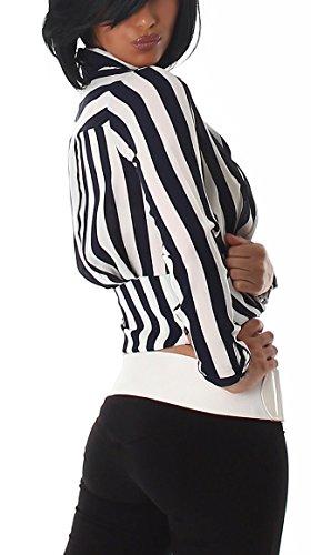 Voyelles Damen kurze Streifen-Bluse (32 - 42) Navy