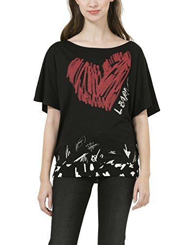 Desigual Domingo - T-shirt - Imprimé - Manches courtes - Femme Noir (Negro)