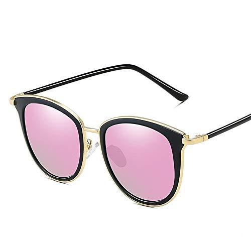 Sonnenbrillen Damenmode Retro Sonnencreme UV400 polarisiertes Licht Sonnenbrille TAC Metall Vintage weibliche Brille Sonnenbrillen (Color : Gold+Cherry Powder)
