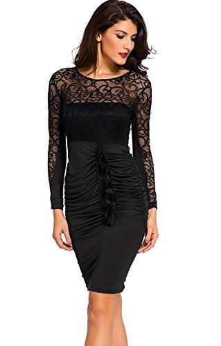 GBT Spitzen - Kleid Mit Reißverschluss Verstimmen Langärmelige Rollkragenpullover Rückenfrei Zurück Schwarz