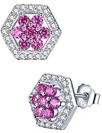 Aoiy - Pendientes de las mujeres en plata de ley, hexágono flor con creado rubí de color rojo rosado, zce017zh