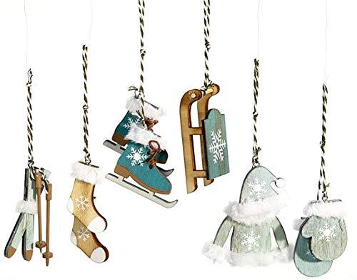HEITMANN DECO Christbaum-Schmuck - Behang Set aus Holz - 6-TLG. - Weihnachten Baumbehang in modischer Farbe - Petrol - Weihnachtsdeko