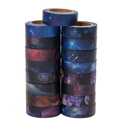 shi Tape Papier-Abdeckband 20 Rollen / Set perfekt für Scrapbooking, DIY-Handwerk, Geschenkverpackung und Mood Design-große 10 Meter Länge - mit freiem Stempel (Halloween Papier Waren)