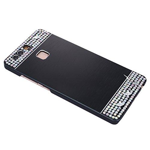 Hart PC Hülle für Huawei P9,Huawei P9 Schutzhülle Gold,Huawei P9 Glänzend Handyhülle,Hpory Fashion Luxus Diamant Hart Plastik Schale Telefon Shell Ultra Dünn Handyhüllen Kristallklar Durchsichtig Blin Diamant,schwarz