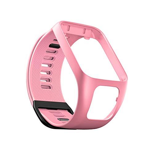 QHJ Armband Für Tomtom Adventurer/Runner 2 3 / Spark 3,Ersatz Silikon Band Strap für Tomtom Adventurer/Runner 2 3/Spark 3 (Rosa)
