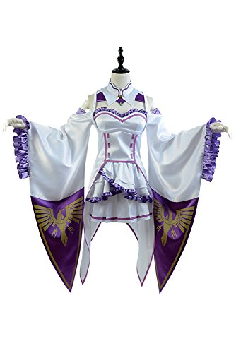 Re:Zero Life in a Different World from Zero Emilia Outfit Cosplay Kostüm Weiß Frauen (Für Anime Frauen Cosplay Kostüme)
