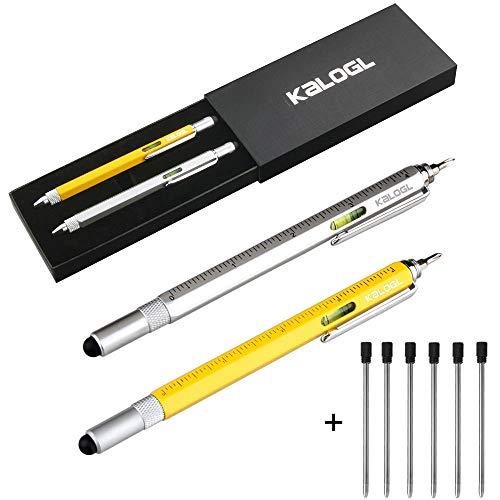 """Multifunktionale Stift Stylus [2 stück] Funktionen wie Stylus, Ballpoint Pen, 4 """"Lineal, Level, Schraubendreher 2019 geschenke für freund / men lustige geschenke kugelschreiber gadgets (Silber / Gelb)"""