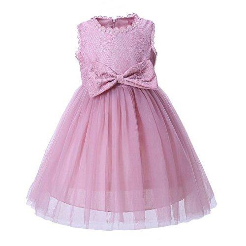 Brautjungfern Kleid Prinzessin Schleife Kleid Hochzeit Festzug Geburtstag Party Kids Rosa Kleid (4-yr Alten Mädchen Spiele)