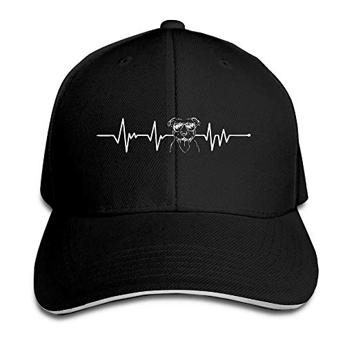 Presock Prämie Unisex Kappe Pitbull Heartbeat-1 Adult Adjustable Snapback Hats Sandwich Cap