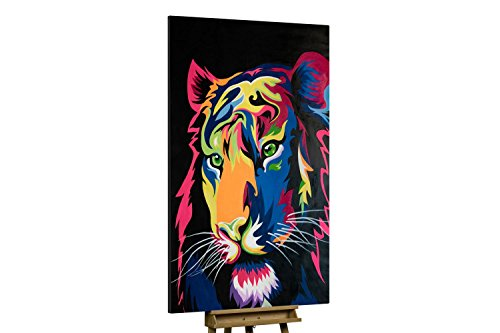 'Illuminated Tiger' 120x180cm | Tiger in Pink Gelb Kunst Deko | Modernes Kunst Ölbild