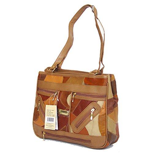 Friendz Trendz-spalla Borsa in pelle PU rappezzatura assetto borse della borsa (multi) tan