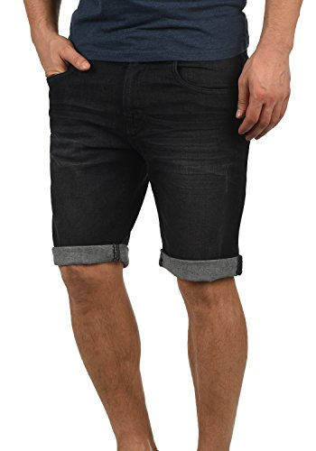 Indicode Quentin Herren Jeans Shorts Kurze Denim Hose Mit Destroyed-Optik Aus Stretch-Material Regular Fit, Größe:S, Farbe:Black (999)