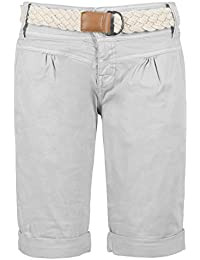 Fresh Made Bermudas de mujer en colores pastel con cinturón trenzado | Elegante pantalón corto estilo chino gris S