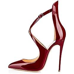 uBeauty Damen High Heels Cross Strap Klassische Pumps Geschlossene Spitze Zehen Übergröße Schuhe Rot 38.5 EU