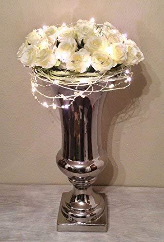 DRULINE Trumpet Vase Dekovase Trompetenvase Keramik in Shabby-Chic Stil (Weiß-Silber) 10 cm x 20 cm (Silber Vasen)