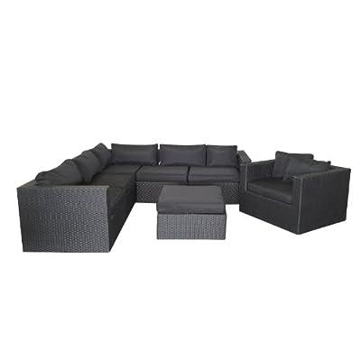 Lounge Gartengarnitur Minnesota Sitzgruppe Sitzgarnitur Sitzlandschaft Poylrattan Rattan inklusive Polster Couchgarnitur