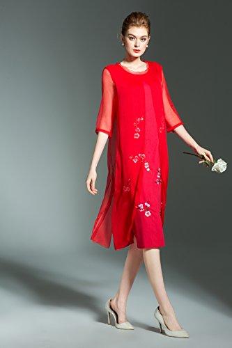 LAI MENG Vintage Damen 2/3 Arm Rockabilly Swing Kleider mit Blumenstickerei  2 in 1 ...