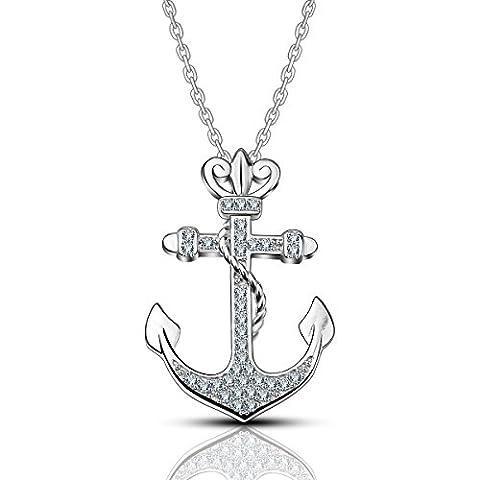 AEONSLOVE 925 Sterling Silber Anker mit Krone Anhänger Halskette für Frauen, Freiheit und Leistungsstarke Symbol