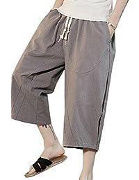 LaoZanA Pantalon Cargo Hombre Pantalones De Lino Jogger Elasticos Anchos Baggy  Pantalones Cortos Con Bolsillos Y 94ea85454393