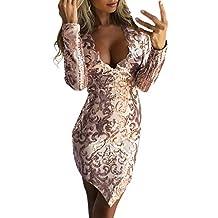 Homebaby Abiti da Cerimonia Sexy Mini Vestito Paillettes Donna Elegante  Pizzo Abito Manica Lunga Cocktail Vintage b6318884eb8