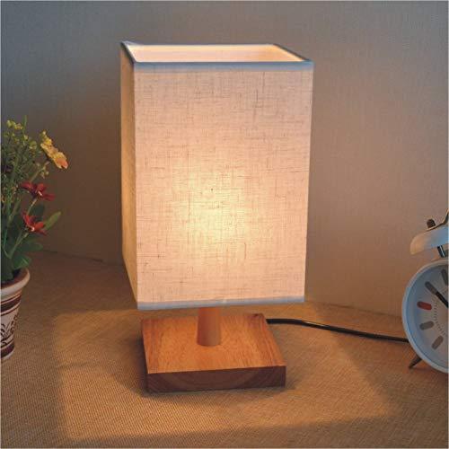 Schlafzimmer Nachttischlampe dimmbar Nachtlicht Massivholz dekorative Leinen Tischlampe Quadratmeter Holz weiß Knopfschalter