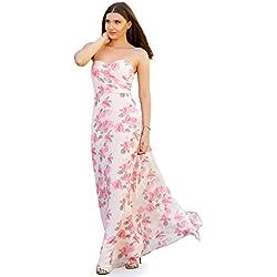 Ever-Pretty Floral Vestido Largo para Mujer Fiesta Noche Dama de Honor sin Mangas Rosa 36