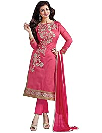 New Aelish Pink Embroidery Cotton Dress Material
