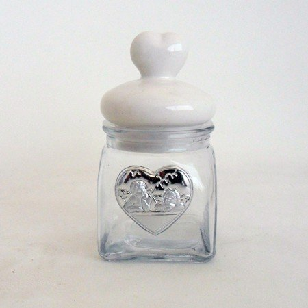 Bomboniere barattolo cuore con angeli completo di scatola