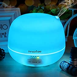 InnooCare Ultrasónico Humidificador 500ml Aromaterapia Difusor de Aceites Esenciales Difusor de Aroma 4 Modos de Funcionamiento Luz LED de 7 Colores Mejorar Aire en Invierno y Ambiente en Casa …