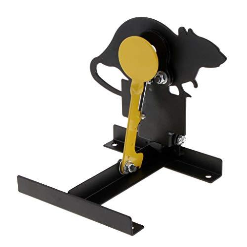 perfk Tier Form Spinner-Schießziel Aus 3 mm starkem Edelstahl Spinnerziel - Schwarz + Gelb - Ratte