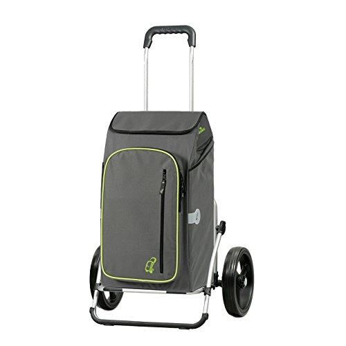 Sondermodell Andersen Einkaufstrolley Royal XXL & Einkaufstasche Toto grau mit Kühlfach | Einkaufswagen mit großen Rädern | Trolley aus Aluminium klappbar