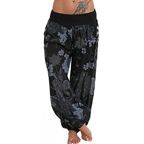 Xmiral Women Pants Polyester Casual Print Pants Wide Leg Pants Loose Pocket Button Harem Pants